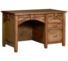 Маленький массивный компьютерный стол, цвет коричневый, стиль - переходный