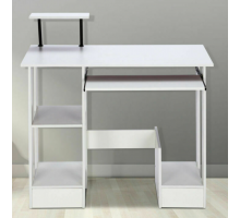 Маленький компьютерный стол с полками, цвет белый, стиль - современный
