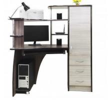 Геймерский компьютерный стол, цвет темно-коричневый, стиль - современный