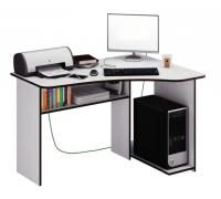 Угловой компьютерный стол с полками, цвет белый, стиль - современный
