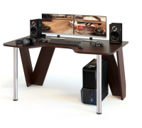 Геймерский компьютерный стол, цвет коричневый, стиль - современный