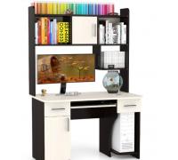 Прямоугольный компьютерный стол с полками, цвет белый, стиль - современный