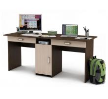 Прямоугольный компьютерный стол с тумбой, цвет коричневый, стиль - современный