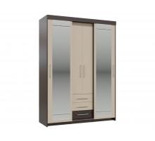 Встроенный шкаф-купе с ящиками Олимп, цвет - венге, стиль - современный