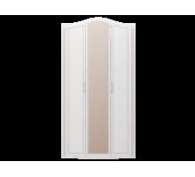 Распашные шкафы купе с зеркалом, цвет - белый глянец, современный