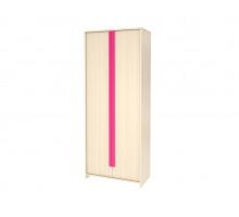 Шкаф  в детскую,цвет -   Дуб Млечный / Розовый, современный