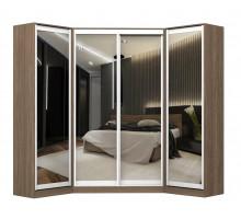 Угловой шкаф-купе Ромео, цвет - коричневый, стиль - современный