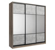Шкаф-купе классический трехдверный Лофт,цвет-дуб крафт серый/бетон серый