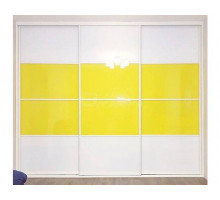 Шкаф-купе Лемиту, цвет - белый, желтый, стиль - неоклассика