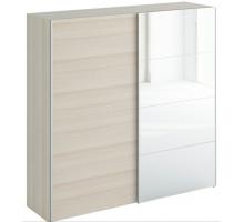 Шкаф-купе двухдверный с зеркалом ясень бежевый Slide 2230, цвет - белый, стиль - скандинавский