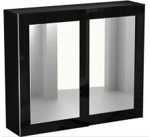 Шкаф-купе двухдверный с зеркалом коричневый Kristal, цвет - черный, стиль - скандинавский