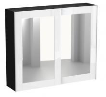 Шкаф-купе двухдверный черно-белый с зеркалом Kristal, цвет - белый, черный, стиль - скандинавский