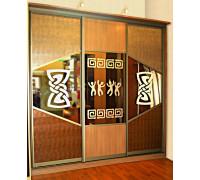 Шкаф-купе 5, цвет - коричневый, стиль - этнический
