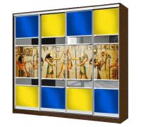 Шкаф-купе фотопечать 2, цвет - коричневый, желтый, синий, стиль - этнический
