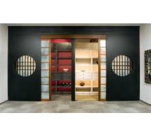 Шкаф-купе в гардеробную, цвет - венге, коричневый, стиль - этнический