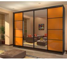 """Яркий шкаф-купе """"Сансара"""", цвет - оранжевый + венге, стиль - современный"""