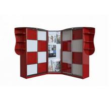"""Яркий шкаф-купе """"Вишня 4"""", цвет - красный чили + белый, стиль - современный"""