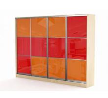 """Яркий шкаф-купе """"Респект-32"""", цвет - красный + апельсиновый, стиль - современный"""