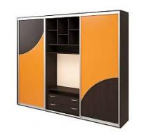 """Яркий шкаф-купе """"Лилу"""", цвет - оранжевый + венге, стиль - современный"""