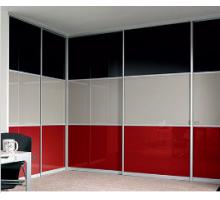 """Шкаф-купе 5 дверный """"УШ-7"""", цвет - черный + красный + белый, стиль - современный"""