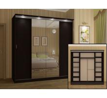 Шкаф-купе для спальни , цвет-Белфорт, Венге, cтиль- современный