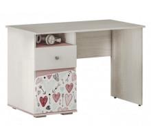 Детский письменный стол Малибу 6, цвет - ясень белый / айскрим / фотопечать, стиль - современный