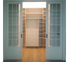 Классическая гардеробная система , цвет - светло-серый, стиль - современный