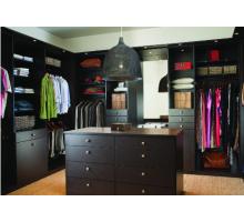 Крупная гардеробная система, цвет - темный шоколад, стиль - современный