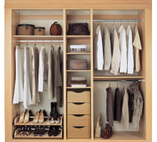 Уникальная гардеробная система, цвет - светло-ореховый, стиль - современный