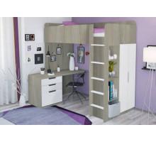Кровать-чердак с письменным столом и шкафом, цвет-вяз, стиль- современный