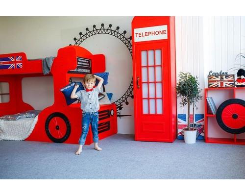 Детская комната, цвет-красный, стиль-Лондон