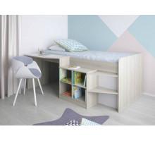 Кровать-чердак со столом и полками, цвет- белый, стиль- классический