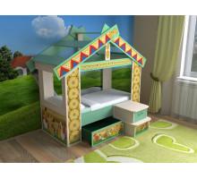 """Детская кровать """"Теремок"""", цвет - зелёный степной, стиль - современный"""