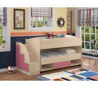 Детская кровать Дюймовочка-4/3, цвет - дуб беленый/розовый, стиль - современный
