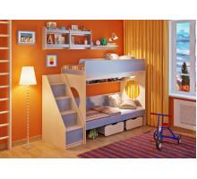 Кровать двухъярусная Легенда 7.3 с полками, цвет - голубой, стиль - современный