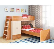 Кровать чердак Легенда 3 комплектация 4, цвет - дуб молочный, стиль - современный