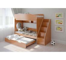 Детская двухъярусная кровать Легенда 10 комплектация 5 угловая, цвет - бежевый, стиль - модерн
