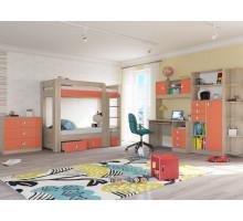 Детская Сити комплект 6, цвет - дуб сонома/коралл, стиль - современный