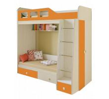 Детская кровать-чердак Астра 3, цвет - дуб молочный/оранжевый, стиль - современный