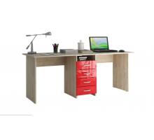 Письменный стол МФ Мастер Тандем-2 Глянец, цвет - бежевый/красный, стиль - современный