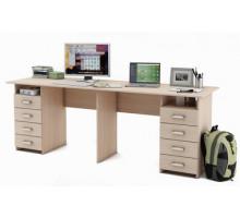 Письменный стол Лайт-15 для двоих, цвет - дуб молочный, стиль - современный