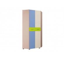 Шкаф ШК-074 Лайк, цвет - дуб молочный / синий-бежевый-матовая риф лайм, стиль - современный