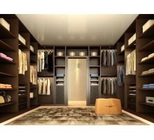 Гардеробная комната планировка Безье, цвет - орех аида табак, стиль - современный