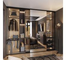 Гардеробная со стеклянными раздвижными дверями, цвет - Дуб Винченца серый, Трюфель, стиль - современный