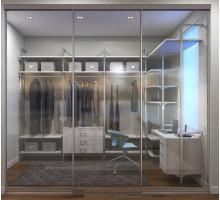 Гардеробная со вставками из прозрачного стекла, цвет - Дуб Гладстон белый, стиль - современный