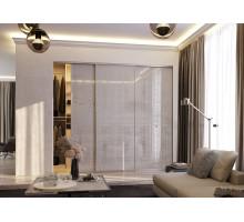 Гардеробная за раздвижными дверями системы Visio-T, цвет - Филвуд белый, стиль - современный