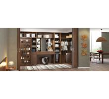Гардеробная комната с открытыми полками и туалетным столиком, цвет - Орех Американский, Матовое серебро