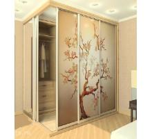 Встроенная двухметровая гардеробная с витражем, цвет - Дуб Небраска, стиль - современный