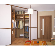 Угловой шкаф-гардеробная в спальне, цвет - Орех Опера, стиль - современный