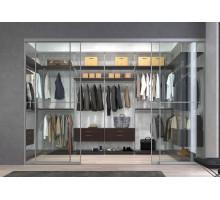 Современная гардеробная в серых тонах, цвет - Матовое Серебро, Орех Антик, стиль - современный